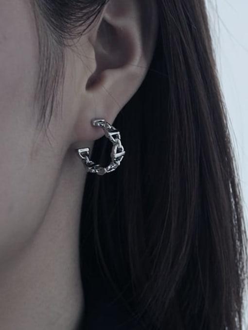 TINGS Brass  Hollow Geometric Vintage Stud Earring 1