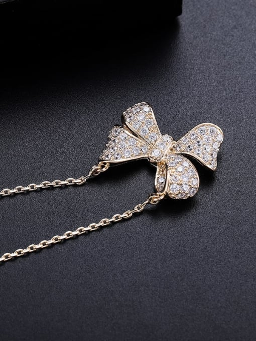 YILLIN Brass Cubic Zirconia Butterfly Minimalist Necklace 0