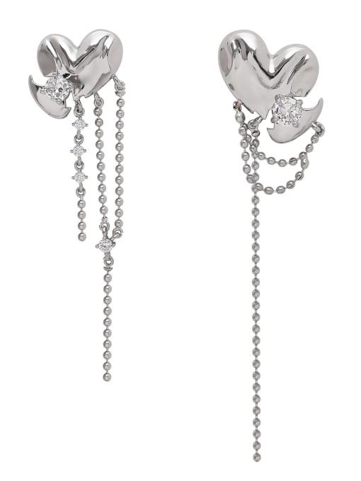 HYACINTH Brass Cubic Zirconia Tassel Minimalist Drop Earring