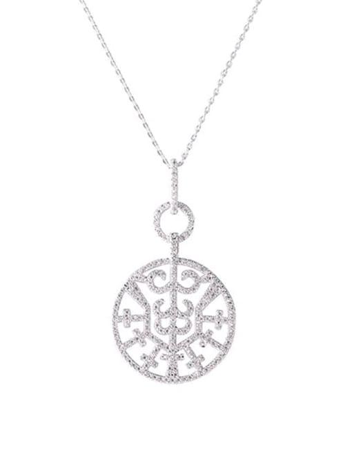 YILLIN Brass Cubic Zirconia Round Minimalist Necklace 0