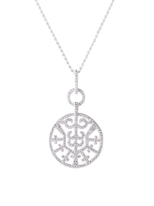YILLIN Brass Cubic Zirconia Round Minimalist Necklace