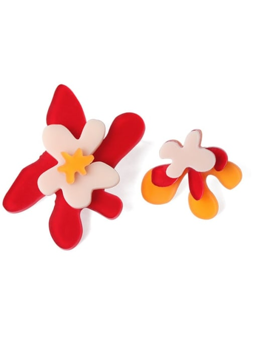 Five Color Alloy Acrylic Flower Cute Stud Earring 0
