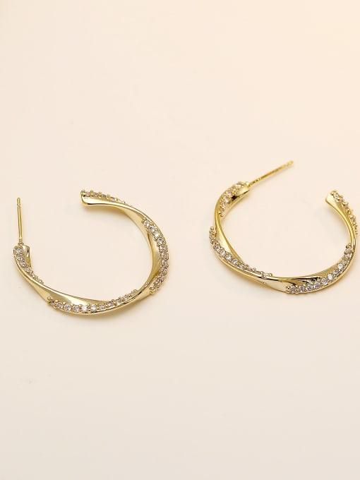 14k Gold Brass Cubic Zirconia Geometric Hip Hop Hoop Earring