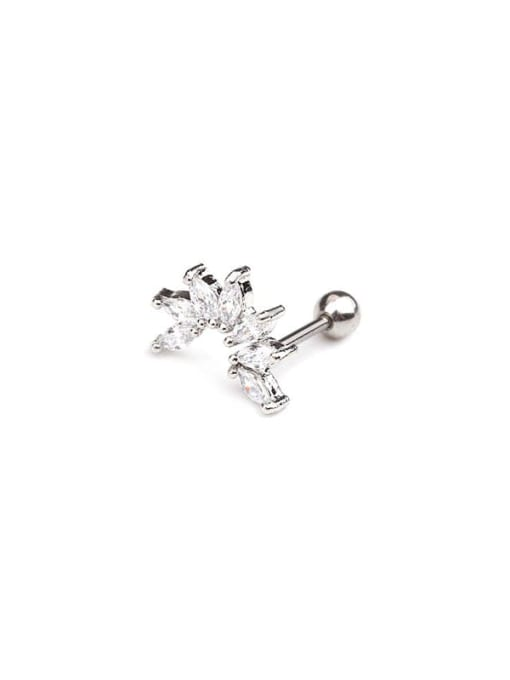 9(Single) Brass Cubic Zirconia Irregular Minimalist Stud Earring