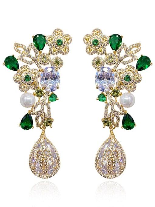 Yellow green diamond flower Brass Cubic Zirconia Flower Luxury Drop Earring
