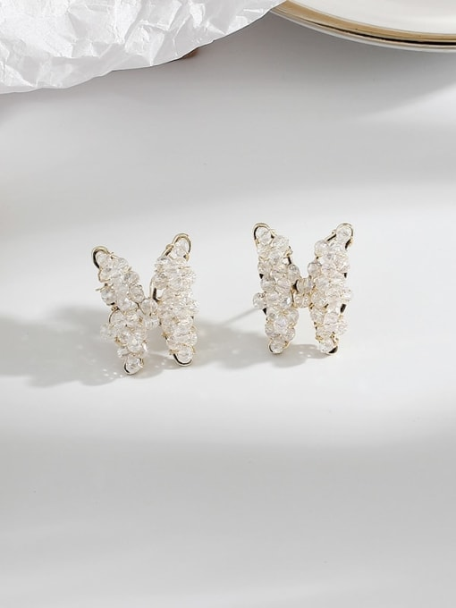 14K real gold Brass Crystal Butterfly Ethnic Stud Earring