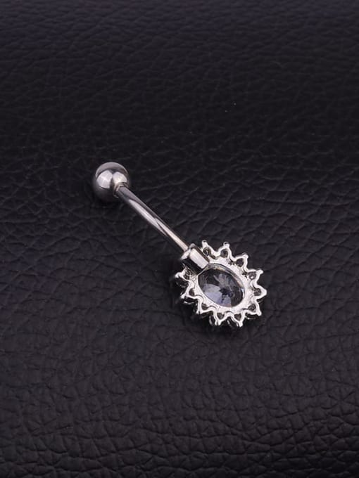 HISON Stainless steel Cubic Zirconia Flower Hip Hop Belly Rings & Belly Bars 2