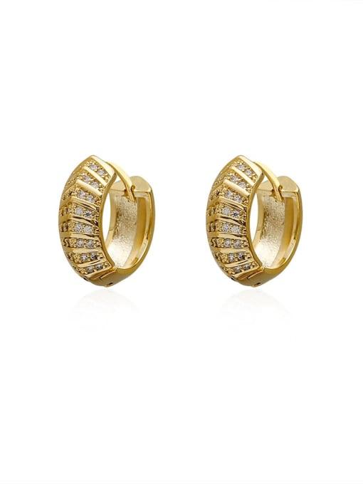 HYACINTH Brass Cubic Zirconia Geometric Vintage Huggie Earring