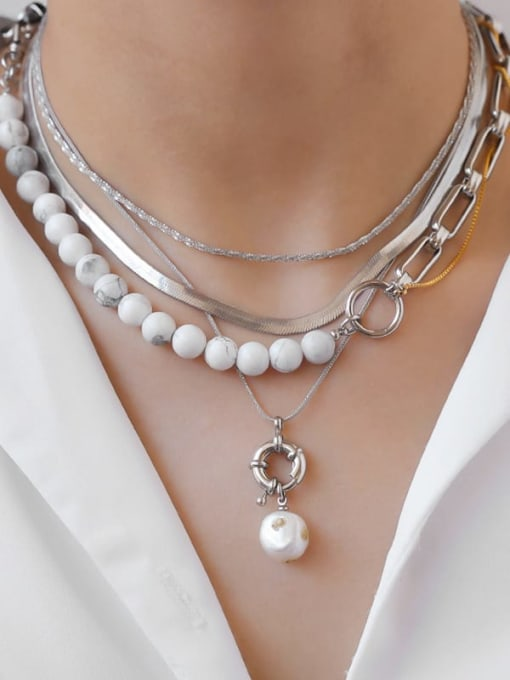TINGS Brass Imitation Pearl Hollow Geometric Chain Hip Hop Multi Strand Necklace 1