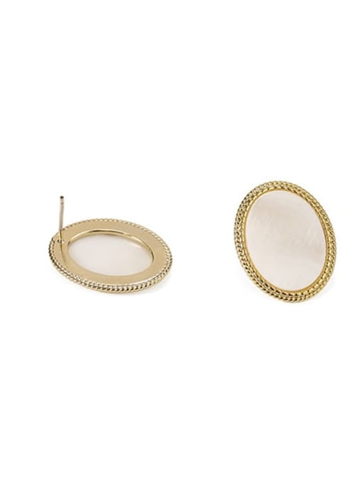 ACCA Brass Shell Geometric Vintage Stud Earring 2