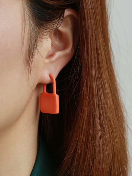 Orange single Zinc Alloy Enamel Locket Minimalist Single Earring