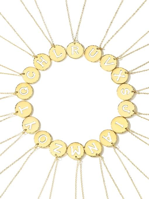 Desoto Titanium Steel Letter Minimalist Round Pendant Necklace
