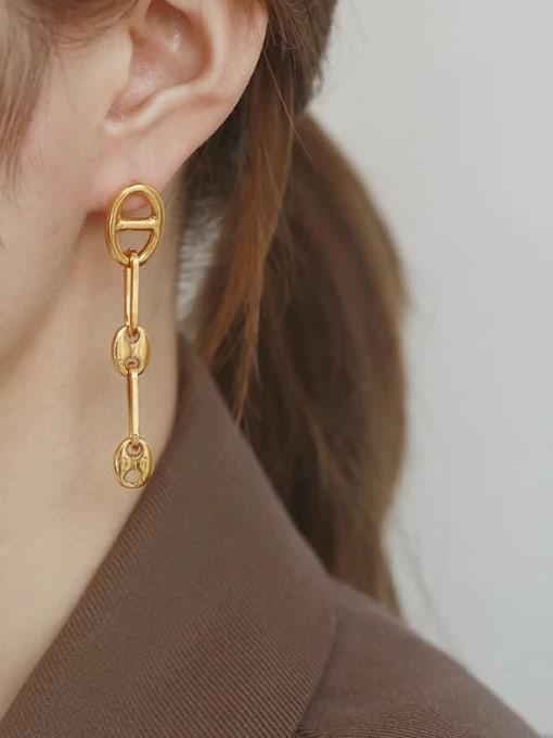 TINGS Brass Hollow Geometric Minimalist Drop Earring 1