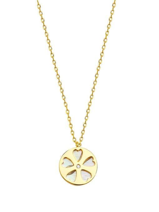 HYACINTH Brass Shell Flower Minimalist pendant Necklace 0
