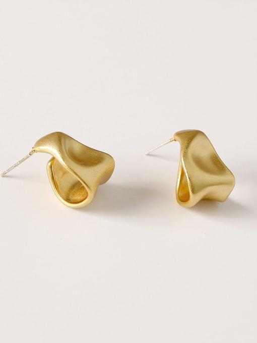 Dumb gold Brass Smooth Irregular Vintage Stud Earring