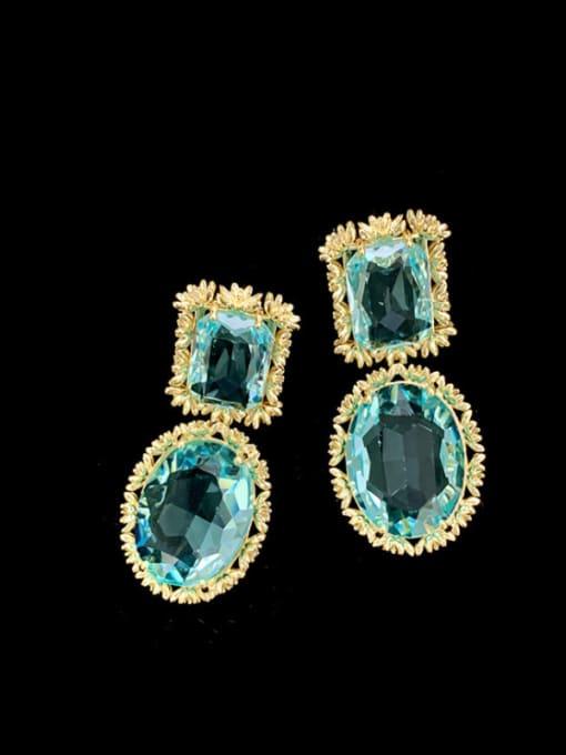 SUUTO Brass Cubic Zirconia Geometric Luxury Drop Earring 0