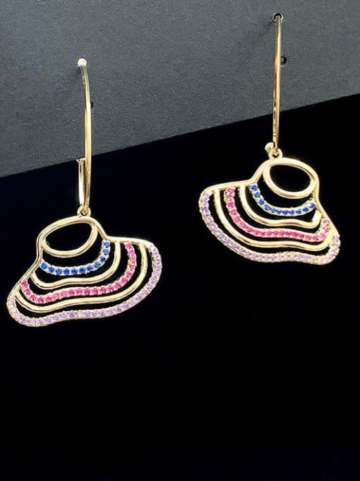 SUUTO Brass Cubic Zirconia Multi Color Geometric Minimalist Hook Earring 1