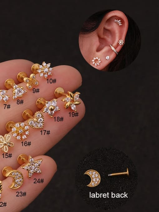 HISON Brass Cubic Zirconia Star Hip Hop Stud Earring 2