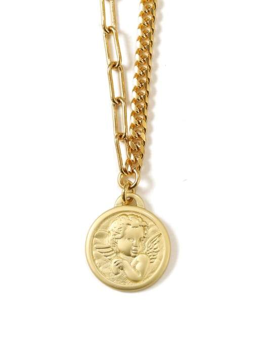 TINGS Brass Coin Artisan round pendant Necklace