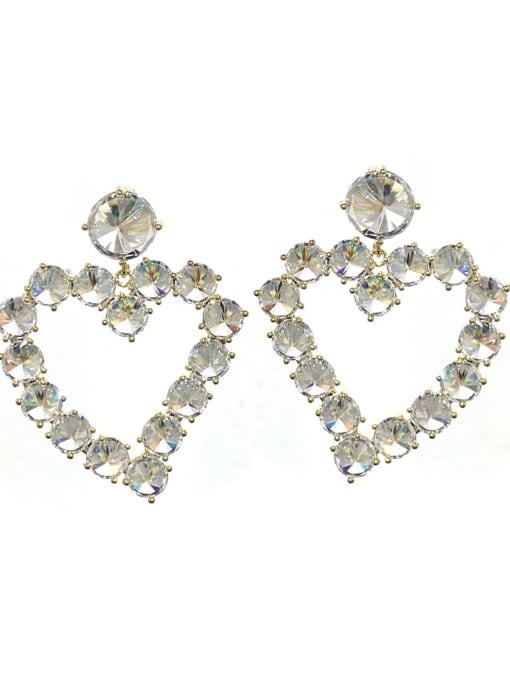 SUUTO Brass Cubic Zirconia Heart Trend Drop Earring 2