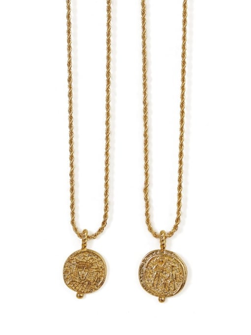 ACCA Brass Vintage  Vintage embossed coin round card Necklace 0