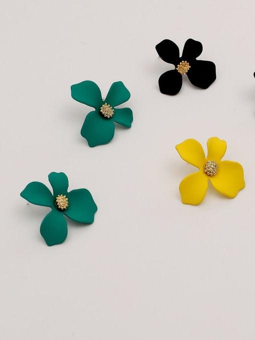 HYACINTH Brass Enamel Flower Cute Stud Earring 3
