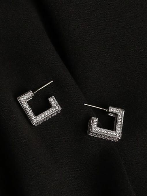 ACCA Brass Cubic Zirconia Square Minimalist Stud Earring 0
