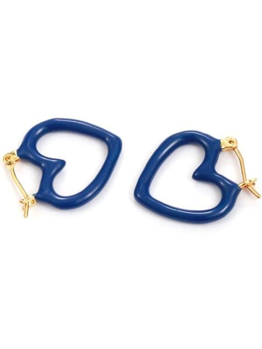 Five Color Brass Enamel Heart Minimalist Huggie Earring 0