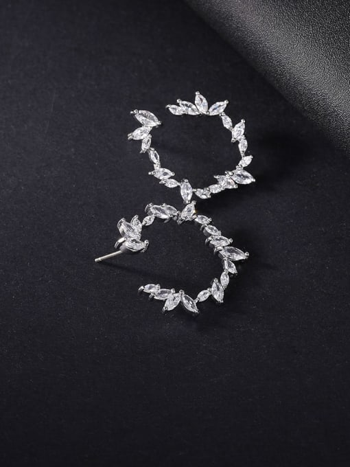 OUOU Brass Cubic Zirconia Geometric Minimalist Stud Earring