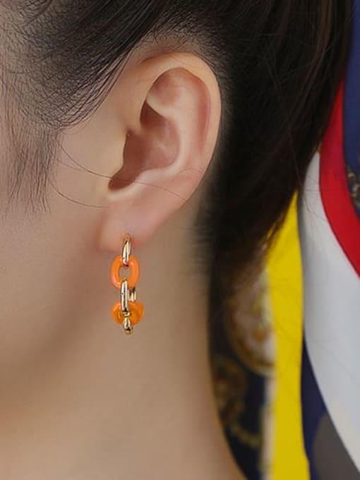 Five Color Brass Enamel Geometric Hip Hop Stud Earring 1
