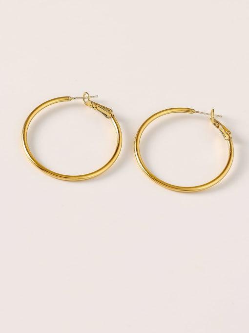 Nostalgic gold Brass Round Minimalist Hoop Earring