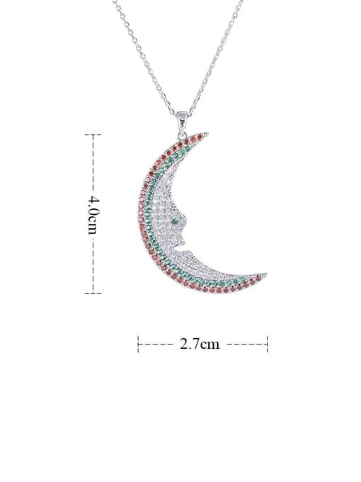 YILLIN Brass Cubic Zirconia Moon Statement Necklace 2