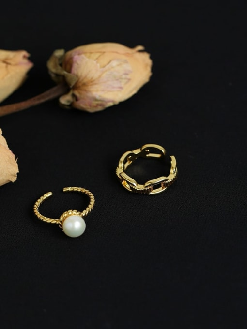 Five Color Brass Imitation Pearl Geometric Vintage Band Ring 3