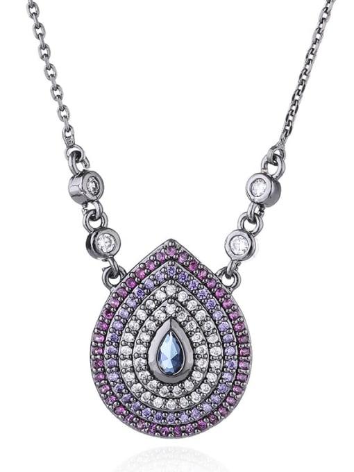colour Brass Cubic Zirconia Water Drop Vintage Necklace