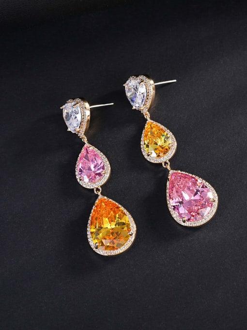 golden Brass Cubic Zirconia Heart Luxury Drop Earring