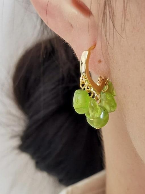 HYACINTH Brass Peridot Heart Vintage Huggie Earring 1