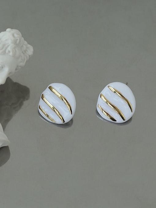 Stripes Brass Enamel Geometric Hip Hop Stud Earring