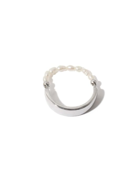 Platinum (adjustable elastic rope) Brass Bead Geometric Vintage Band Ring