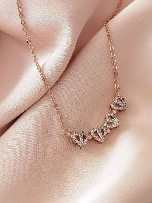 HYACINTH Brass Rhinestone Heart Minimalist Necklace 4