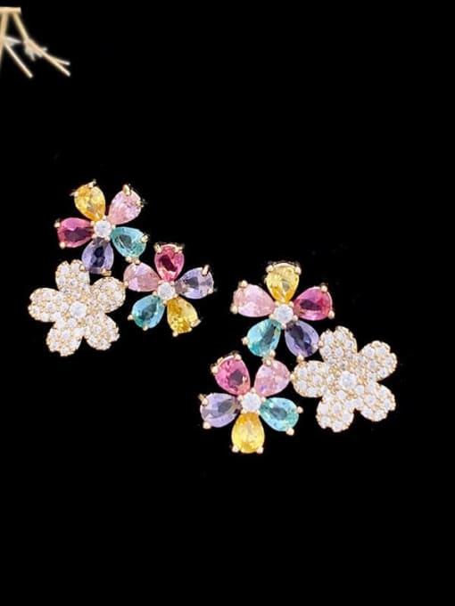 SUUTO Brass Cubic Zirconia Flower Trend Stud Earring 0