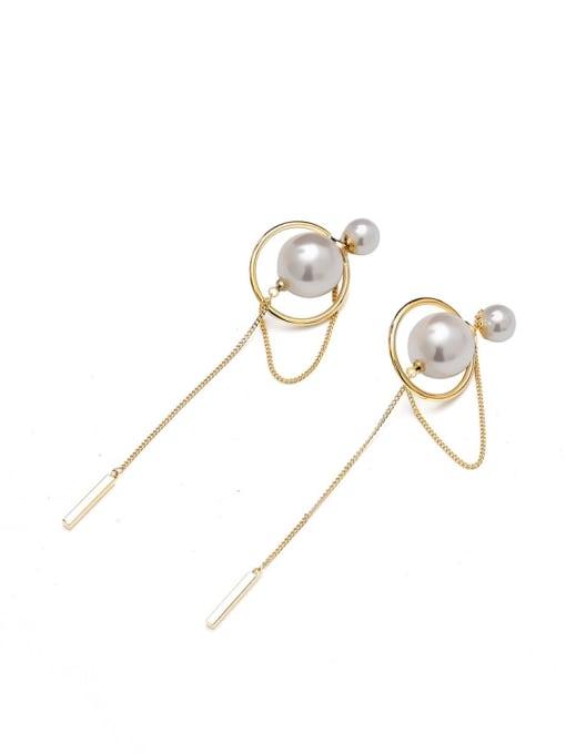 HYACINTH Brass Imitation Pearl Geometric Minimalist Threader Earring 0