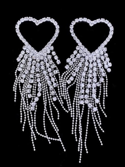 SUUTO Brass Cubic Zirconia Heart tassel Luxury Drop Earring 1