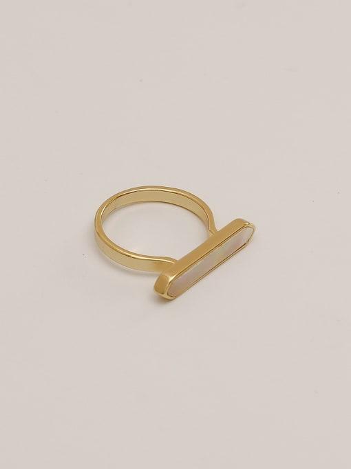 14k GOLD Brass Shell Geometric Minimalist Band Ring