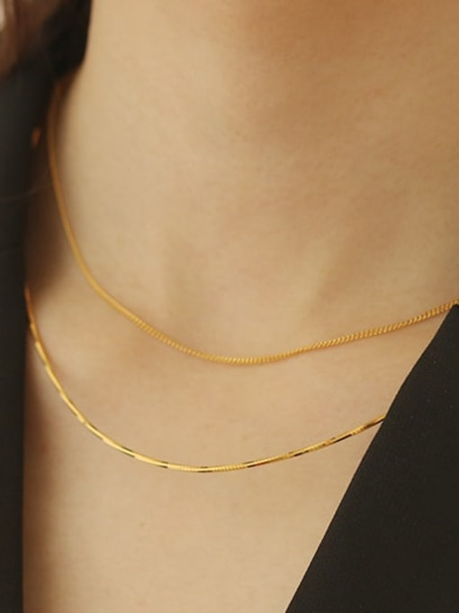 ACCA Brass Geometric Minimalist smooth chain Necklace 1