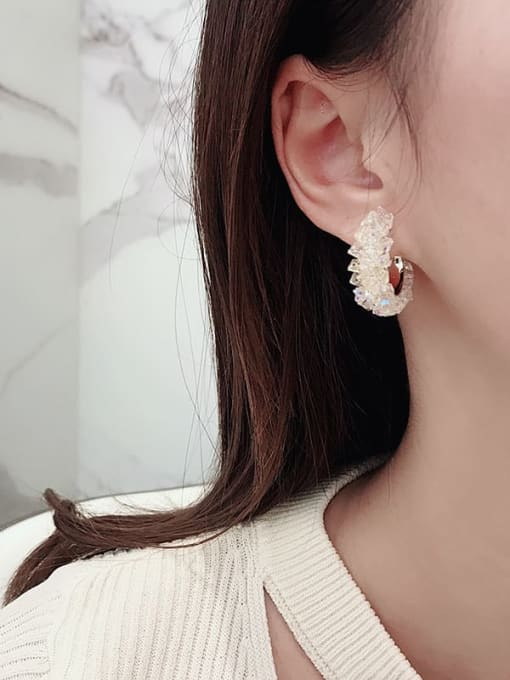HYACINTH Brass Cubic Zirconia Geometric Vintage Stud Earring 1