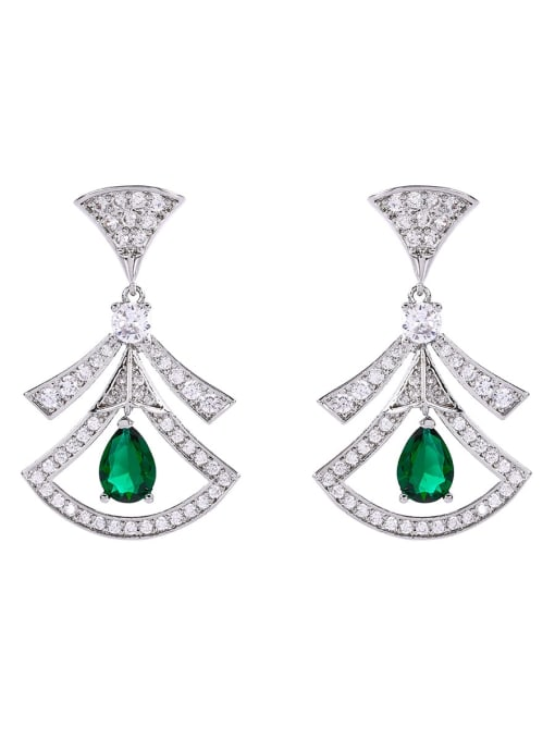 green Brass Cubic Zirconia Geometric Statement Drop Earring