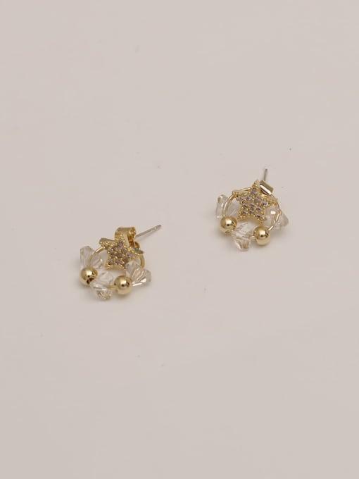 Pentagram white crystal Brass Cubic Zirconia Star Vintage Pentagram White Crystal Huggie Earring