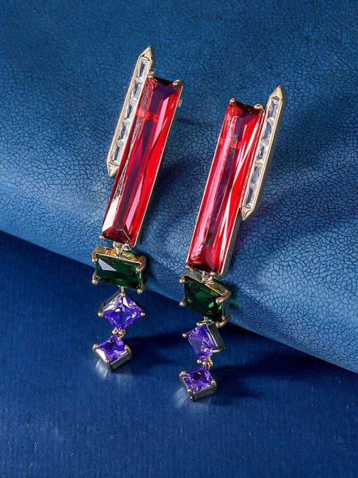 red Brass Cubic Zirconia Geometric Minimalist Drop Earring