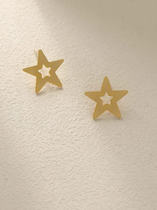 HYACINTH Brass  Hollow Star Minimalist Stud Earring 2