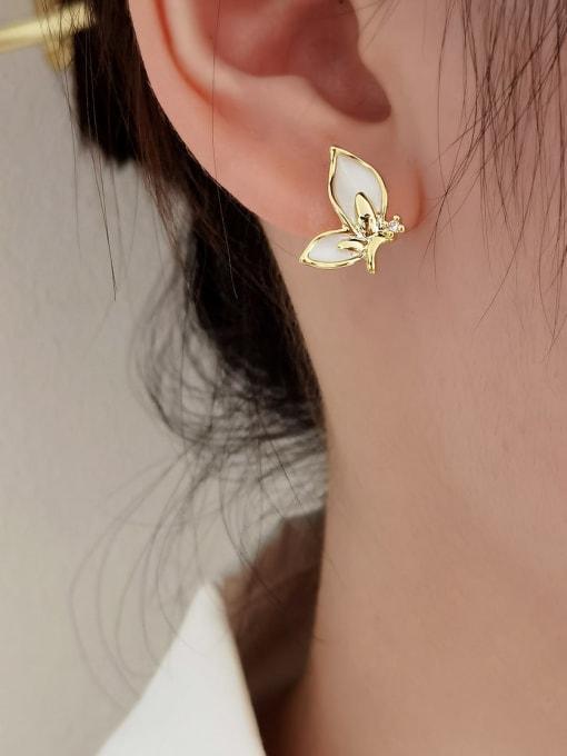 HYACINTH Brass Shell Butterfly Minimalist Stud Earring 1